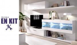 Salón moderno con módulo televisión, vitrina, módulo golgante y estante Ref YK79