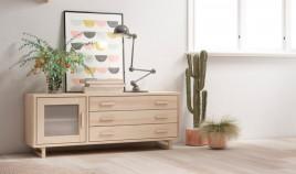Módulo bajo televisión fabricado en madera de Pino Ref JI10085