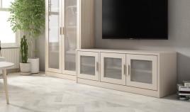 Módulo bajo televisión con puertas fabricado en madera de Pino Ref JI10092
