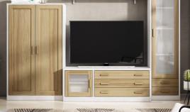 Módulo bajo televisión fabricado en madera de Pino Ref JI10094