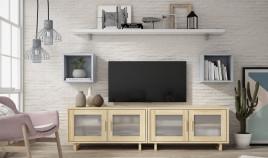 Salón comedor formado módulos bajos de televisión, módulos colgantes y estante Ref JI90