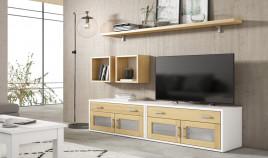 Salón comedor formado módulos bajos de televisión, módulos colgantes y estante Ref JI92