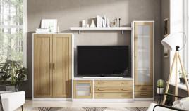 Salón comedor formado módulo bajo de televisión, vitrina 2 puertas, vitrina cristal y estante