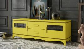 Módulo bajo televisión disponible en diferentes configuraciones fabricado en madera de Pino Ref JI10101