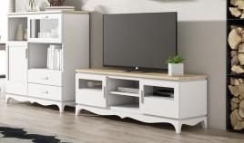 Módulo bajo televisión disponible en diferentes configuraciones fabricado en madera de Pino Ref JI10102