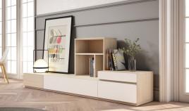 Salón formado por módulos bajos y librero Ref JI116