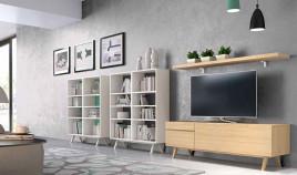 Conjunto salón formado por módulo televisión, 2 libreros y estante Ref JI120