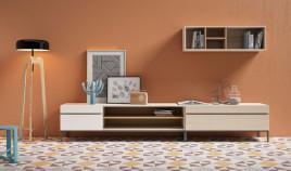 Conjunto salón formado por módulos bajos y librero alto Ref JI121