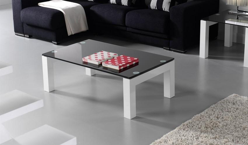 Mesa de centro lacada con cristal - Mesas de centro de cristal ...