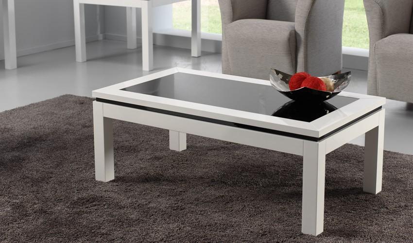 Mesa de centro elevable lacada con cristal for Centro de mesa de cristal