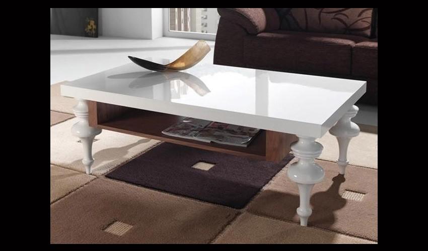 mesa de centro con patas en haya lacada