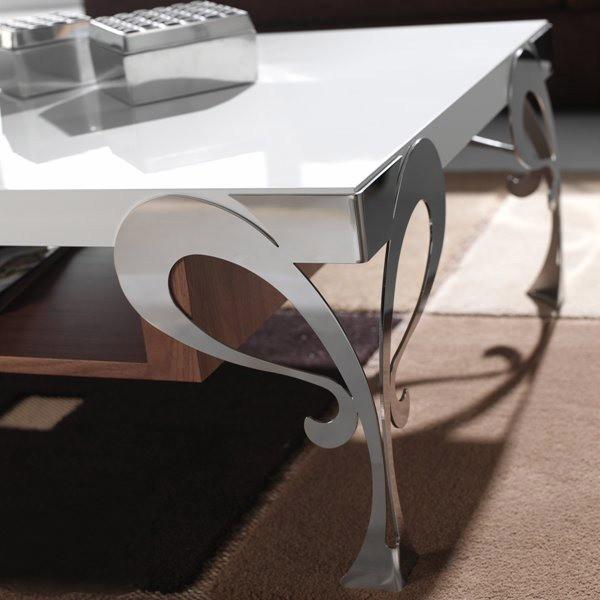 mesa de centro con patas de forja