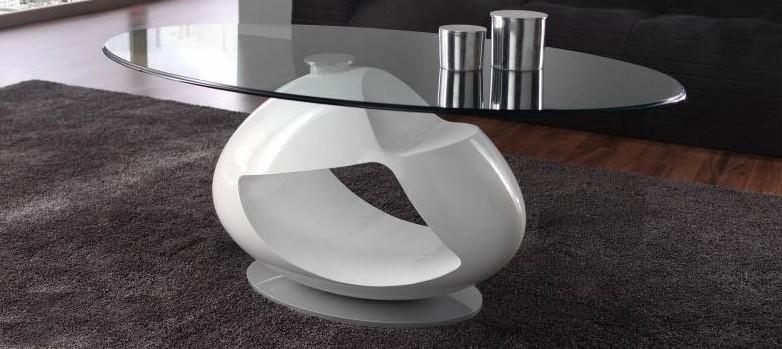 Mesa de centro de dise o con tapa cristal for Mesas ovaladas de cristal