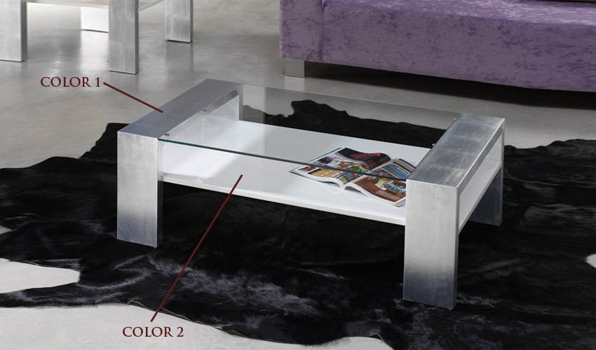 Mesa de centro moderna con cristal for Mesa moderna