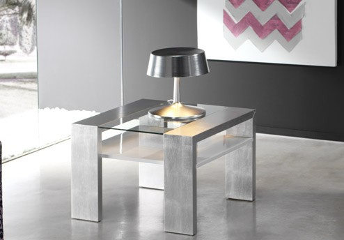 Mesa de centro moderna con cristal for Mesa cristal moderna