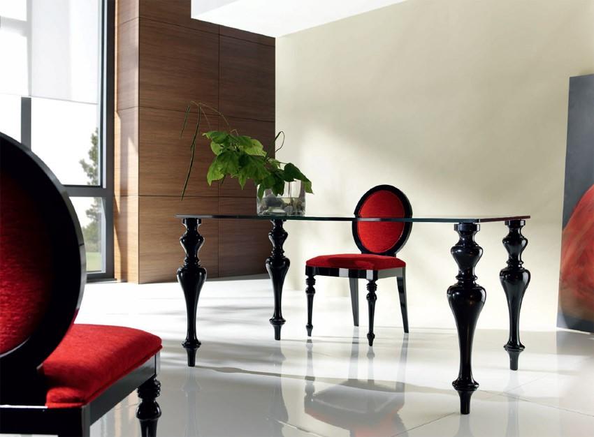 Mesa de comedor con patas torneadas y tapa cristal - Mesas de salon de cristal ...