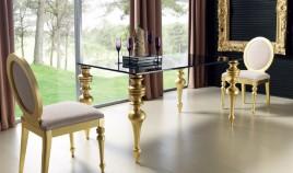 Mesa de Comedor con Tapa Cristal y Patas Torneadas Ref L70000