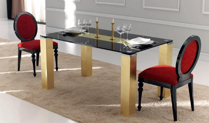 Mesa de Comedor con Tapa Cristal y Patas Lacadas