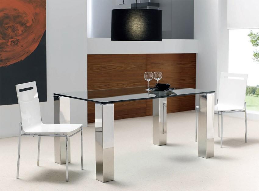 Mesa de comedor con patas en acero for Mesas de cristal extensibles para comedor