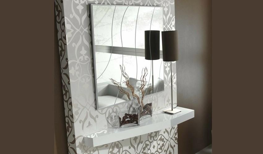 Conjunto recibidor con consola y espejo cuadrado ref l107000 for Espejos grandes para recibidor