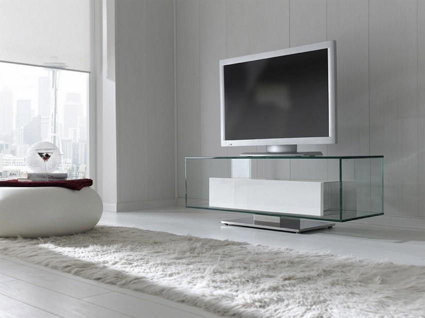 Mesa de televisi n de cristal con frente lacado - Mesa de television ...