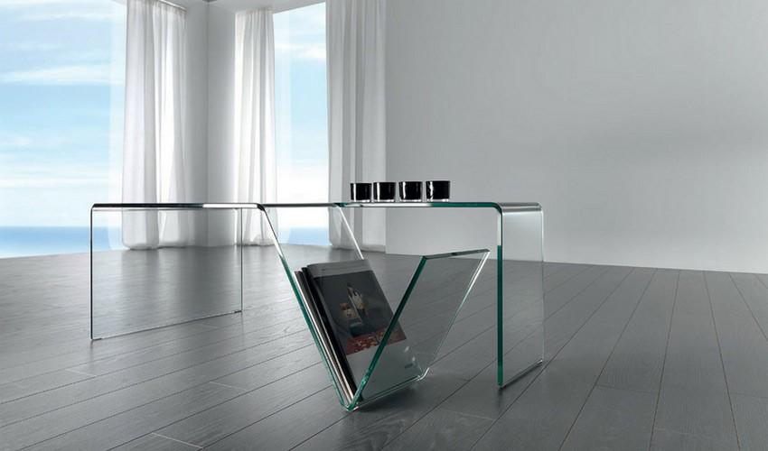 Mesa de centro de cristal con revistero for Mesas de salon de cristal