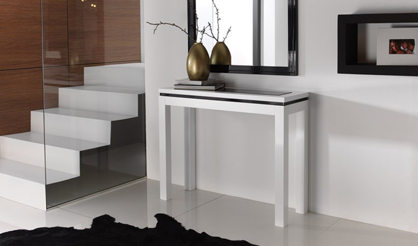 Consola recibidor de dise o con formas rectas ref l121000 - Muebles recibidores de diseno ...