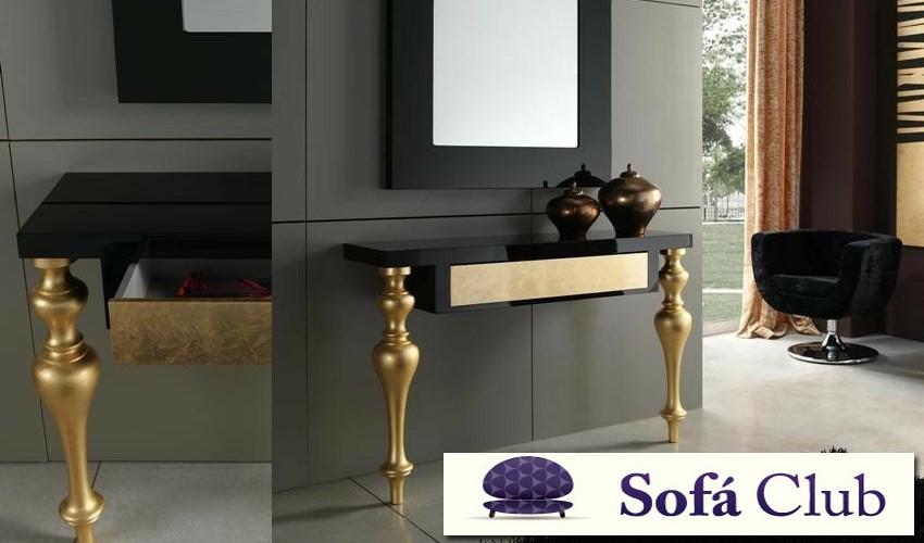 Consola recibidor de dise o con patas en madera torneadas for Mesas recibidores modernos