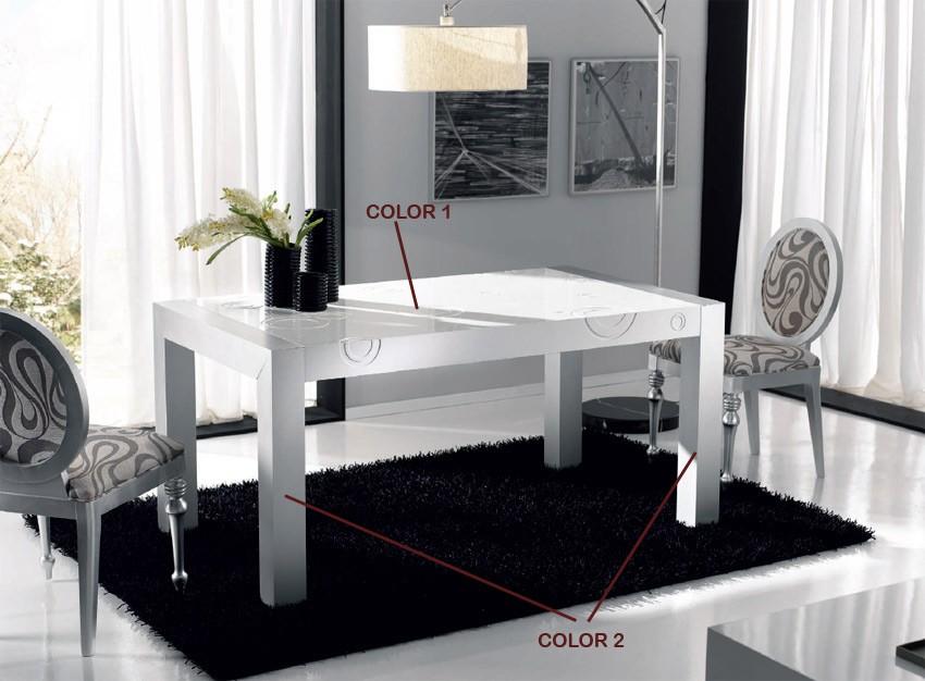 Mesa de comedor lacada con tapa grabada y extensible for Mesas y sillas salon baratas