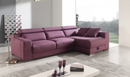 A47400 Sofá con opción Chaiselongue, Rinconera y en 3, 2 y 1 plaza. Disponible en Piel Natural