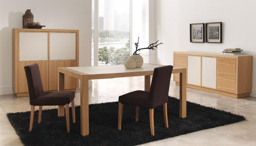 Mesa de comedor extensible acabado en roble y cer mica - Mesa de comedor grande ...