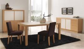Mesa de Comedor extensible acabado en chapa natural y Cerámica Ref L134000