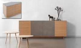 Mueble Aparador acabado en chapa natural y Cerámica Ref L138000