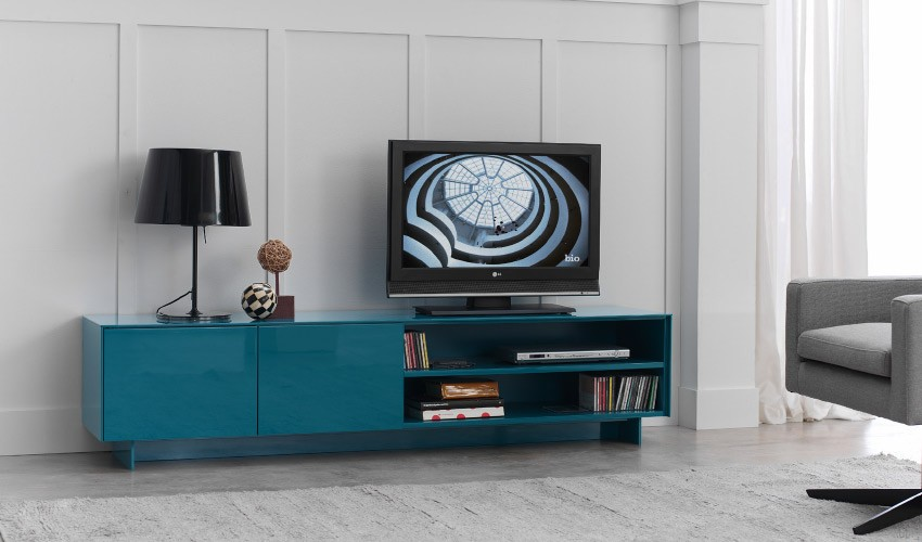 Mueble de televisi n de dise o lacado for Mesas de tv de diseno