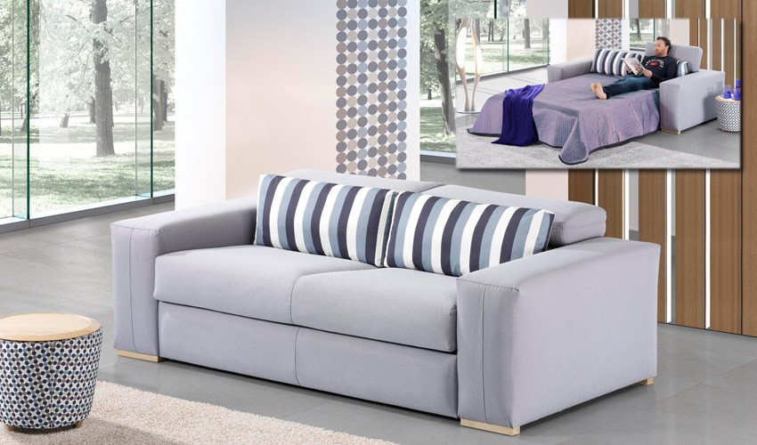 A53000 Sofá Cama con apertura italiana disponible en 3 y 2 Plazas y chaiselongue