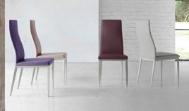 Silla de diseño tapizada con estructura cromada Ref Q101000
